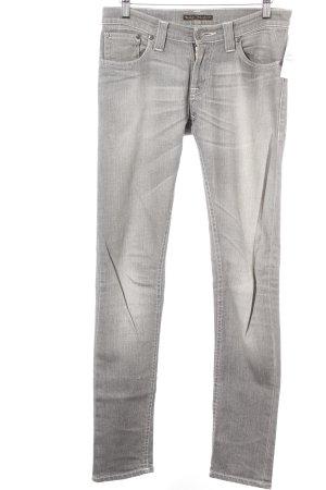 Nudie jeans Slim Jeans grau-wollweiß meliert Casual-Look