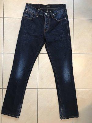 Nudie jeans Boot Cut Jeans dark blue-blue cotton