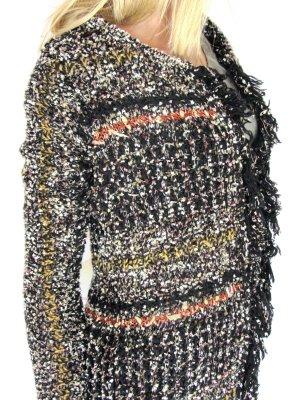 nü by staff-woman Veste tricotée en grosses mailles noir-orange fluo