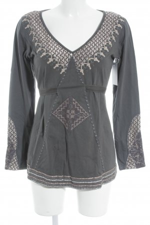 nü by staff-woman Langarm-Bluse anthrazit-altrosa Ornamentenmuster