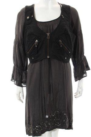 nü by staff-woman Langarmkleid schwarz-dunkelgrün extravaganter Stil