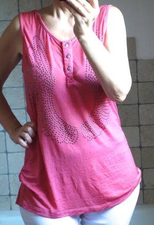 Nü by staff-woman, Nü Denmark, Longtop, Top, Shirt, Tanktop, mit Nieten Motiv Engelflügel , rosa, koralle, pink, Gr. L