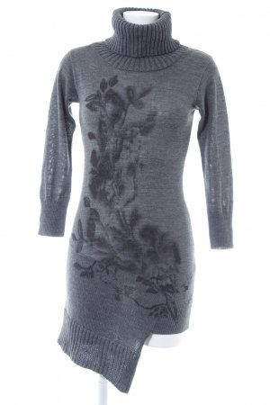 nü by staff-woman Strickkleid grau florales Muster Casual-Look