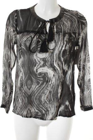 NÜ Denmark Langarm-Bluse abstraktes Muster extravaganter Stil