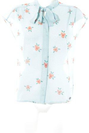 Nümph ärmellose Bluse babyblau-hellrot florales Muster Casual-Look
