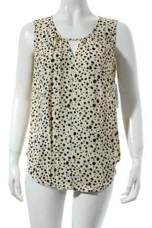 Nümph ärmellose Bluse creme-schwarz Punktemuster klassischer Stil