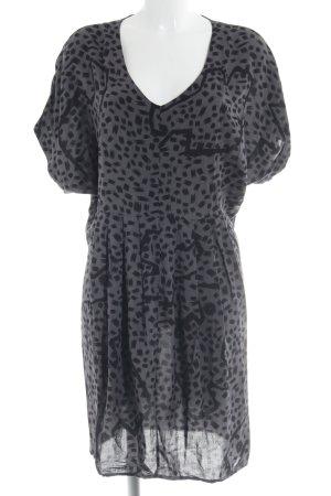 Nümph Blusenkleid graubraun-schwarz abstraktes Muster Boho-Look