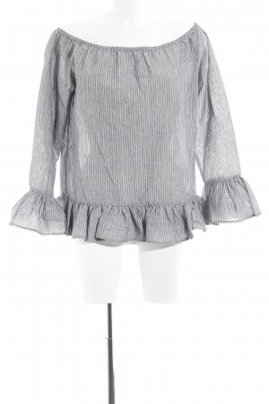 Nümph Carmen Blouse slate-gray-white striped pattern Boho look