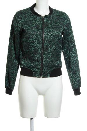 Nümph Collegejacke schwarz-waldgrün Blumenmuster Casual-Look