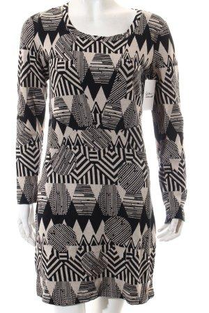 Nümph Etuikleid schwarz-beige abstraktes Muster Casual-Look