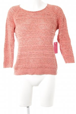 Nümph Grobstrickpullover taupe-hellrot Zopfmuster Casual-Look