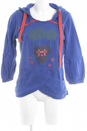 Nümph Hooded Sweater steel blue-red abstract print casual look