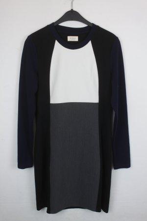 Nümph Kleid Gr. 36 Blockmuster in schwarz, weiß, Blau und grau (18/6/190)