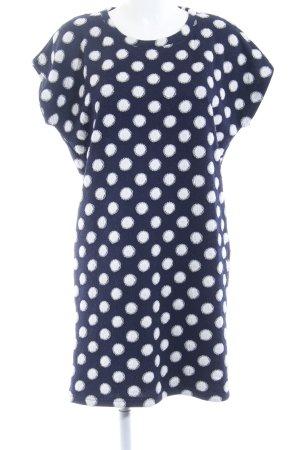 Nümph Jurk met korte mouwen donkerblauw-wit gestippeld patroon