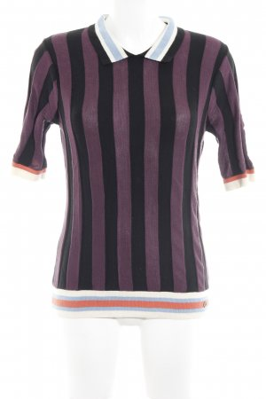 Nümph Short Sleeve Sweater black-dark violet striped pattern classic style