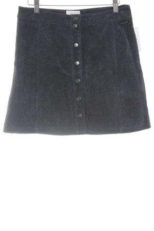Nümph Falda de cuero azul oscuro look casual