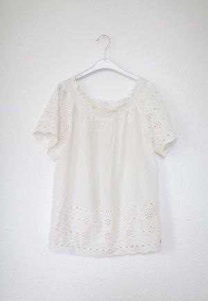 Nümph Off Shoulder Bluse weiß Spitze Häkelspitze Vintage Still Gr. 38