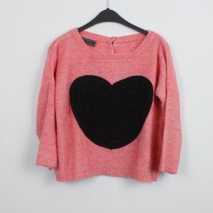 NÜMPH Pullover Gr. S lachsfarben rosa schwarzes Herz Knöpfe am Rücken (18/9/468)