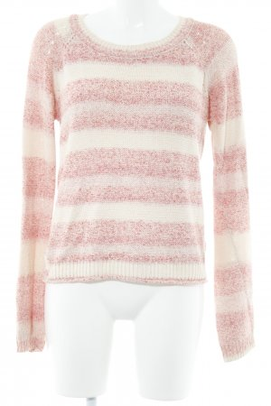 Nümph Strickpullover creme-rosa Streifenmuster Casual-Look