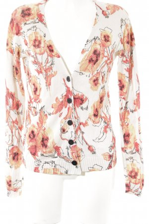 Nümph Strickweste wollweiß-apricot Blumenmuster schlichter Stil