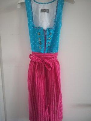 Nur 1x getragen: Dirndl von GAMSBOCK, Inkl. Pinkfarbene Schuerze+pinkies Schnuerband am Decolete