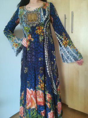 Nur 1x getragen: Kleid aus 100% SEIDE mit reicher Perlenverzierung, UNIKAT DA IN DUBAI GEKAUFT!