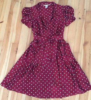 nur bis 22.10: Diane von Fürstenberg vintage Seidenkleid rot mit weißen Punkten in Gr. 6