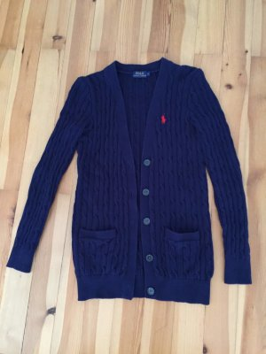 Polo Ralph Lauren Coarse Knitted Jacket brick red-dark blue