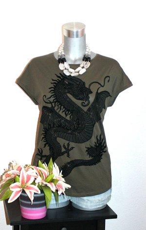 NUR NOCH HEUTE ; REDUZIERTE PREISE !!! Dragon Shirt gr.42 Tshirt Kaki