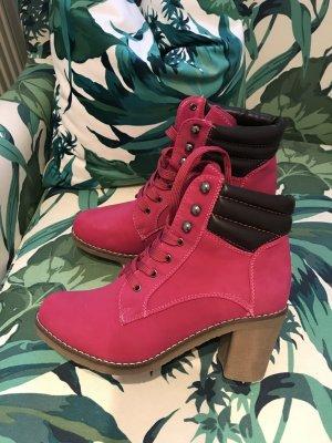SALE-AKTION!!! * SCHNÄPPCHEN!!! * Tolle neue pinkfarbene Stiefelette aus Italien * Rutschfeste Sohle *