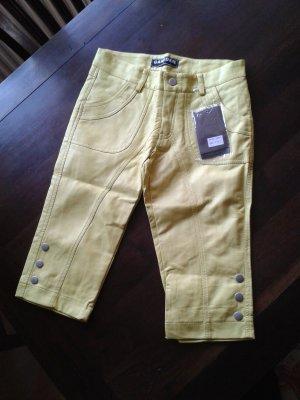 Pantalón capri amarillo Imitación de cuero
