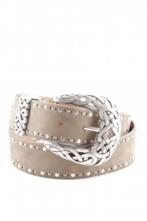 Nurage Leather Belt brown-silver-colored spot pattern extravagant style
