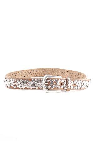 Nurage Leather Belt brown-silver-colored wet-look