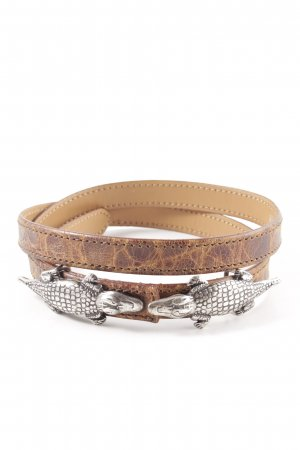 Nurage Leather Belt brown-silver-colored allover print extravagant style