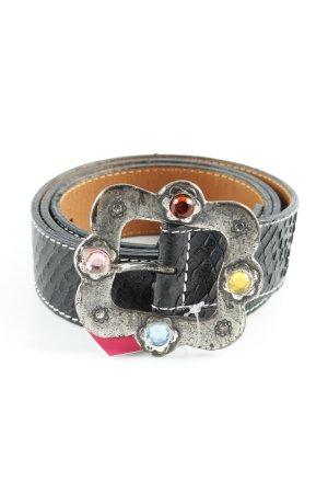 Nurage Ledergürtel schwarz-silberfarben Reptil-Optik