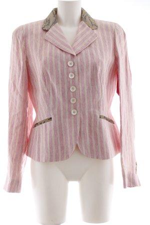 NVSCO Boyfriend-Blazer rosa-olivgrün Streifenmuster Materialmix-Look