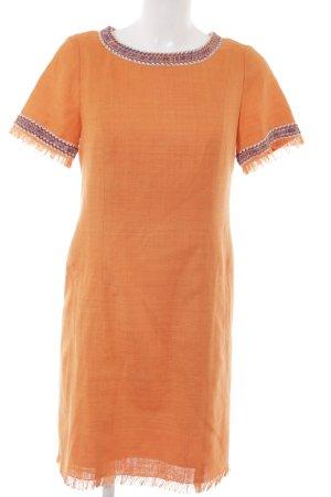 NVSCO Etuikleid orange Zopfmuster Boho-Look