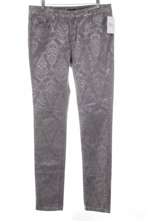 NYDJ Five-Pocket Trousers silver-colored-grey floral pattern shimmery