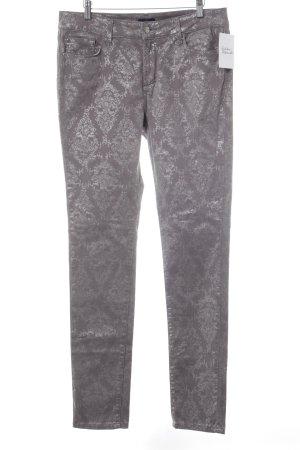 NYDJ Pantalon cinq poches argenté-gris motif floral scintillant