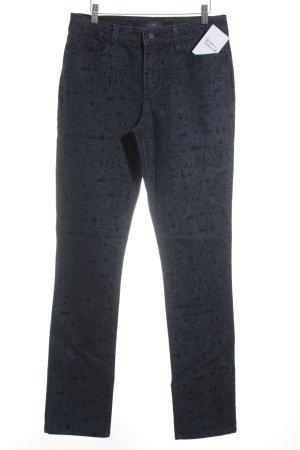 NYDJ Slim Jeans dunkelblau-stahlblau florales Muster Casual-Look