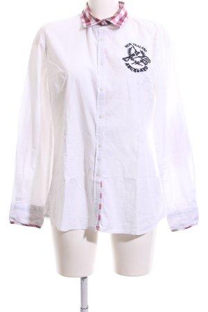 NZA New Zealand Auckland Langarmhemd weiß-pink meliert Casual-Look
