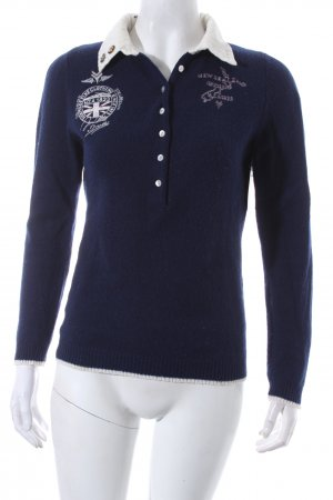 NZA New Zealand Auckland Wollpullover blau-creme Casual-Look