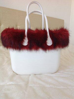 O bag Shopper blanc-rouge foncé