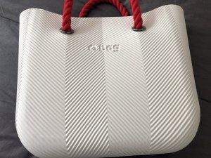 O-bag Tasche weiß mit roten Kordelgriffen