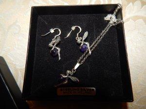 Dangle dark violet-silver-colored real silver