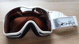 Oakley Damen Skibrille Snowboardbrille Goggles Schneebrille Modell: Stockholm pearl white VR28 polarized weiß hellbraun-rosé dunkelorange