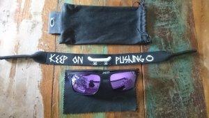 Oakley Sonnenbrille Lila verspiegelt mit Kopfhalterung schwarz Matt