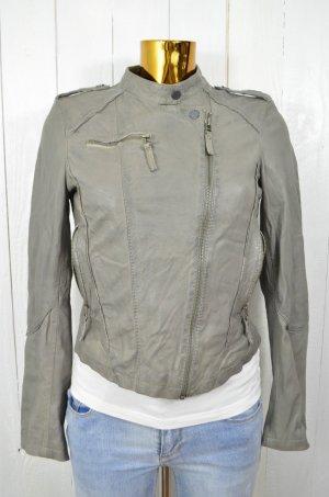 OAKWOOD Damen Lederjacke Jacke Biker-Style Grau Leder Baumwolle Gr.S