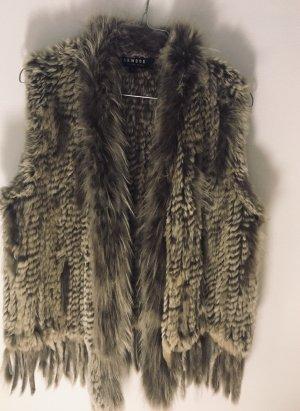 Oakwood Smanicato di pelliccia marrone-grigio Pelliccia
