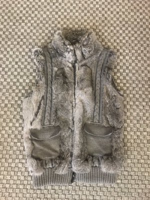 Oakwood Fellweste Kaninchenfell echtes Fell Weste grau graubraun taupe 32 34